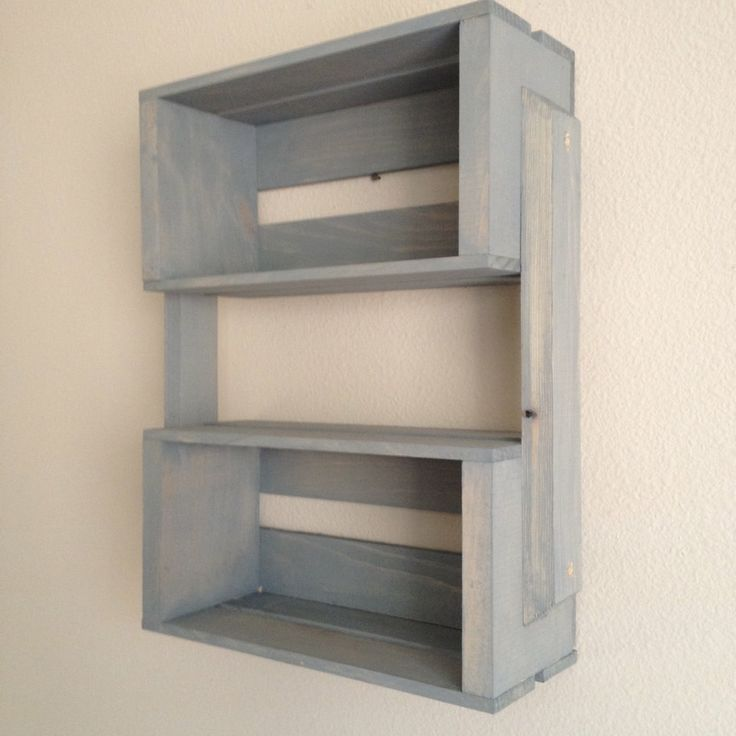 Small Wooden Crate Hanging Shelf Wall Fixture Shelves For Spice Rack