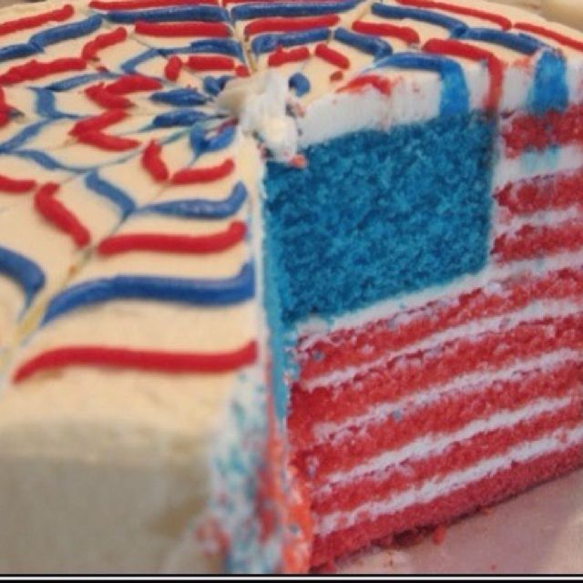 Red, White & Blue Baking: American Flag Cake -- it's only when you cu...