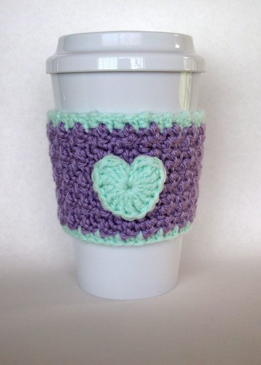 Crochet Heart Coffee Cup Cozy in Lilac and by TheEnchantedLadybug, $11 ...