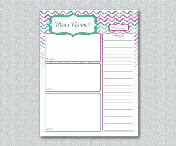 INSTANT DOWNLOAD Printable Menu Planner DIY Meal Planning 8.5 x 11 A4 ...