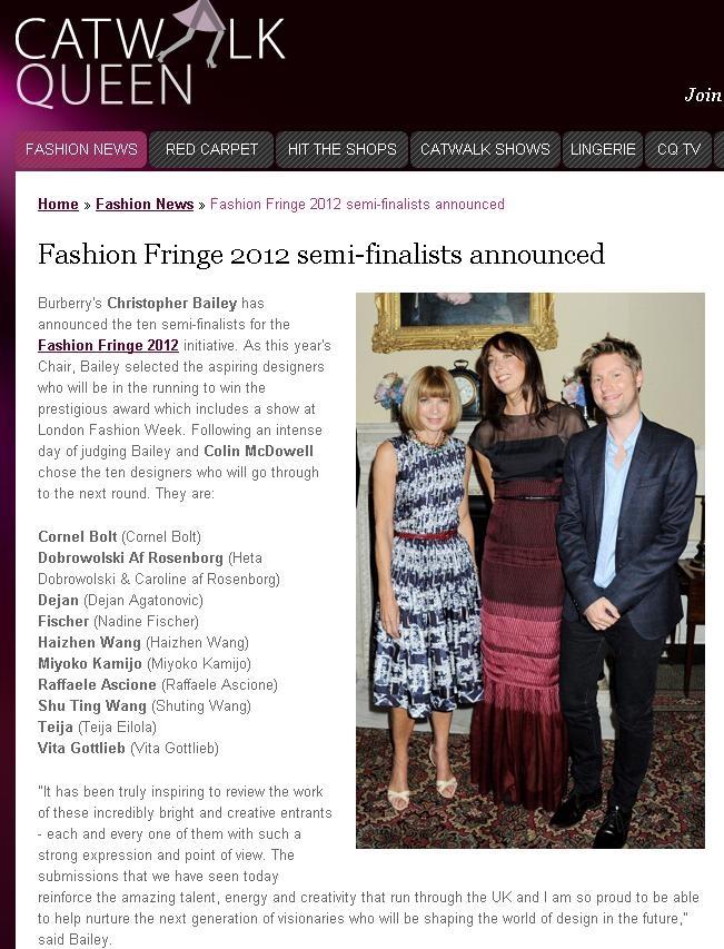 Fashion Fringe Semi Finalists announcement - Catwalk Queen