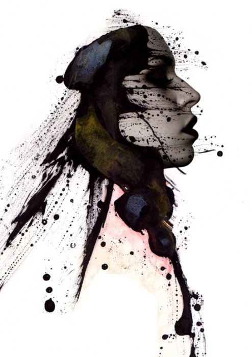 ink splatter portrait. | Different mediums for art | Pinterest