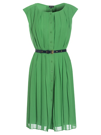 Jaeger All Over Pleated Dress, Green