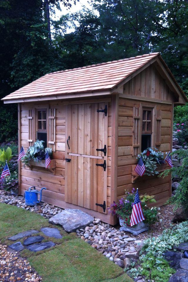 patriotic cedar potting shed garden sheds pinterest