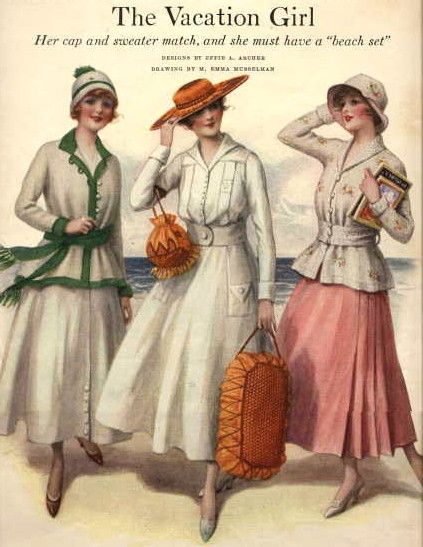 stylish ensemble for beach-wear 1916