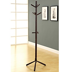 @Overstock - Materials: Solid wood Finish: CappuccinoThree tiers of hooks Sturdy base Cappuccino finish Dimensions: 70 inches high x 16 inches wide x 16 inches deep...http://www.overstock.com/Home-Garden/Cappuccino-Contemporary-Solid-Wood-Coat-Rack/6979410/product.html?CID=214117 $63.99