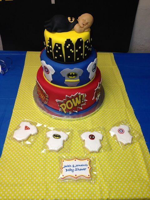 baby shower super hero cake i don 39 t like the baby on top but it 39 s