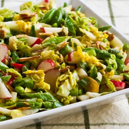 Crunchy Napa Cabbage Asian Slaw with Sugar Snap Peas, Radishes, Almon ...