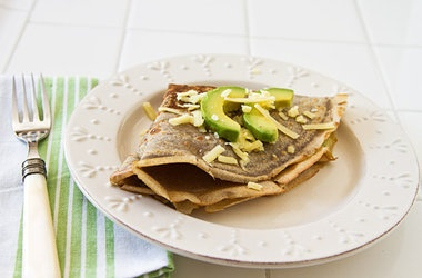 Buckwheat Crepes with Avocado Aged Cheddar Cheese