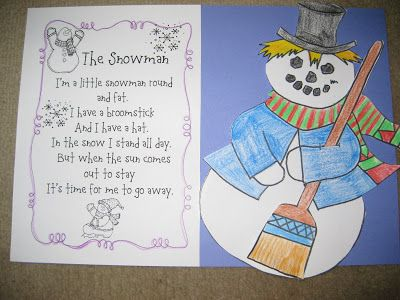 Snowman poetry craftivity | Winter | Pinterest