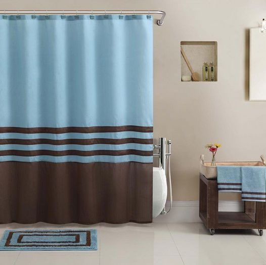 Beautiful blue brown shower curtain bath towel rug 13 for Beautiful bathroom decor