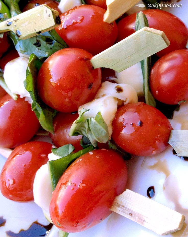 Caprese Salad Skewers. Easy as Skewer, Plate, and Drizzle. Make ahead ...