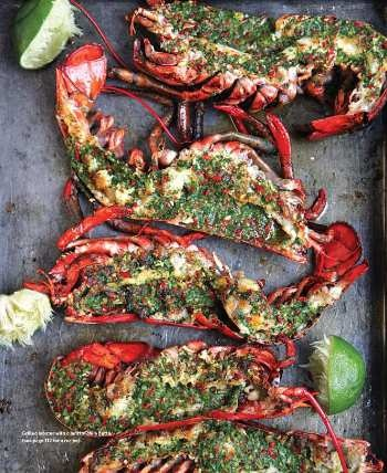Grilled lobster with cilantro chile butter. Saveur. Jun-Jul 2010.