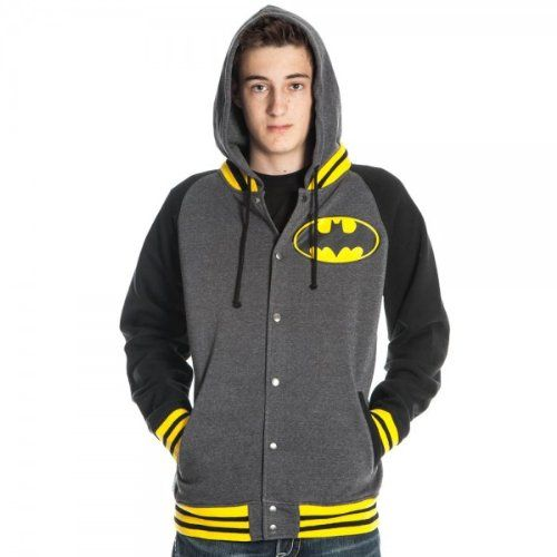 Comics Batman Letterman Mens Gray Hoodie; only $31.50 + Free Shipping