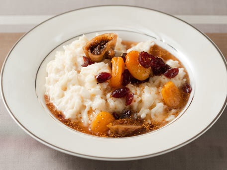 Rice Pudding with Dried Fruit Compote of Figs, Apricots, and Cherries.