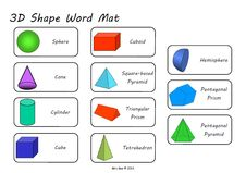 pictures of 3d shapes and their names | 3D Shape Word Mat