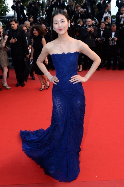 Liu Wen in navy Roberto Cavalli with Chopard jewellery in Cannes 2013