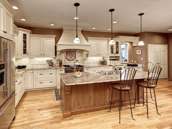 White cabinets with contrasting island for the home for White wood stain kitchen cabinets