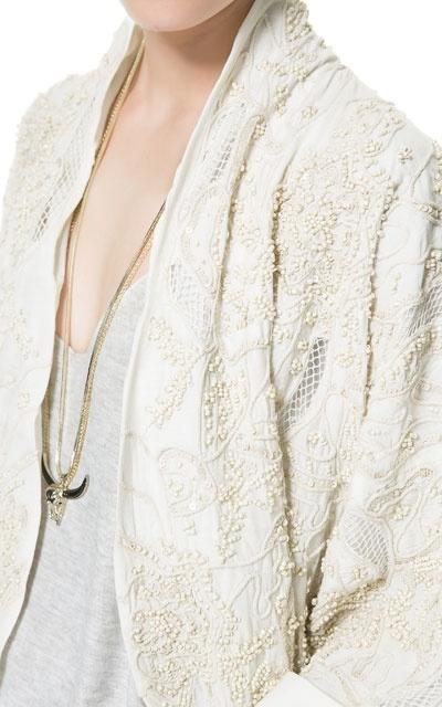KIMONO MIT PERLENBESATZ - TRF - Neuware - ZARA Deutschland - 57     White Kimono Ghost