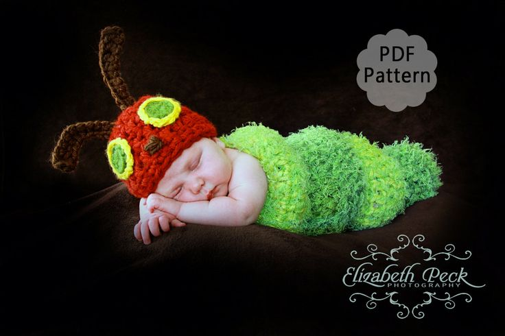 The Very Hungry Caterpillar Beanie Hat Crochet Pattern For Party Invitation...