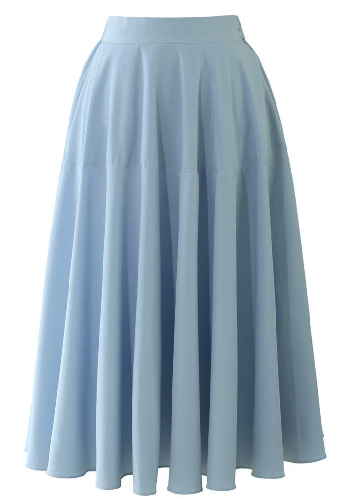 pastel blue midi skirt fashion
