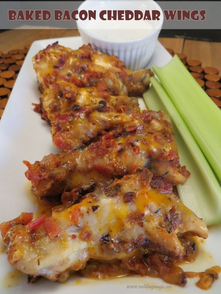 Baked Bacon Cheddar Chicken Wings | Chicken Extraordinaire... | Pinte ...