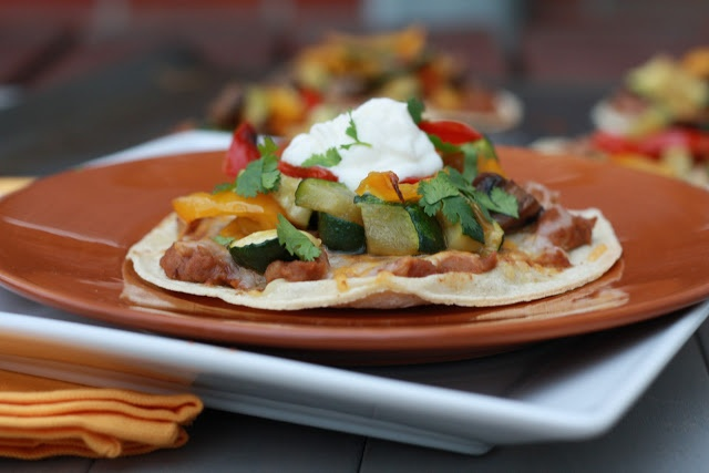 Roasted Vegetable and Refried Bean Tostadas