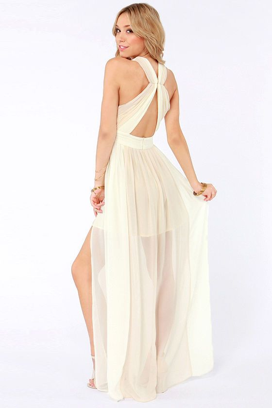 Images of Cream Colored Maxi Dresses - Reikian