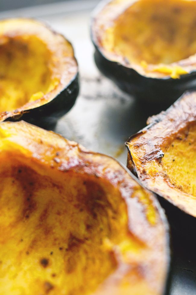 Acorn Squash baked with brown sugar (fill with apple chunks too)