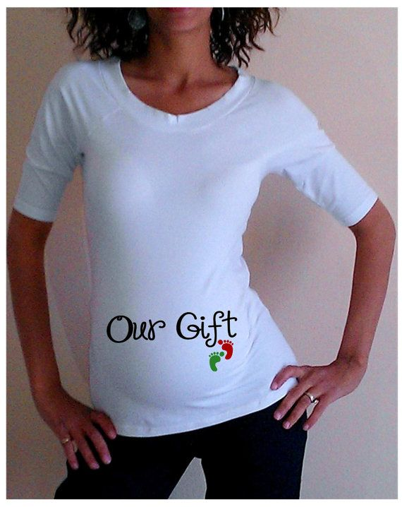 White Christmas Maternity Shirt/Tee Our Gift by DJammarMaternity, $24
