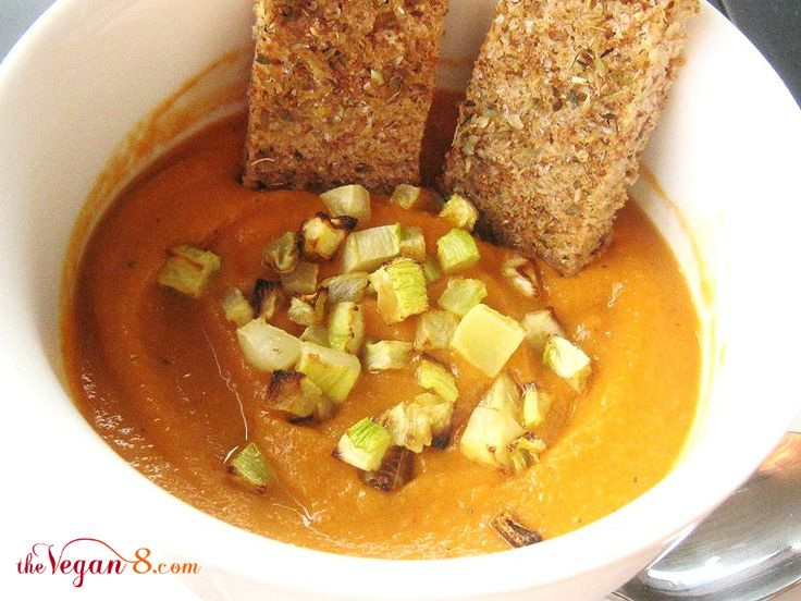 ... flavorful 8 ingredient Spicy Zucchini Pepper Soup http://TheVegan8.com