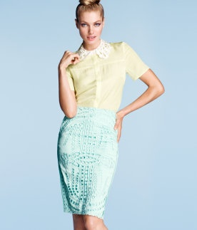 Mint Pencil Skirt with Cut-Work Fabric Overlay (Front) & Silk (Back).  H Inspires Springtime Feelings.
