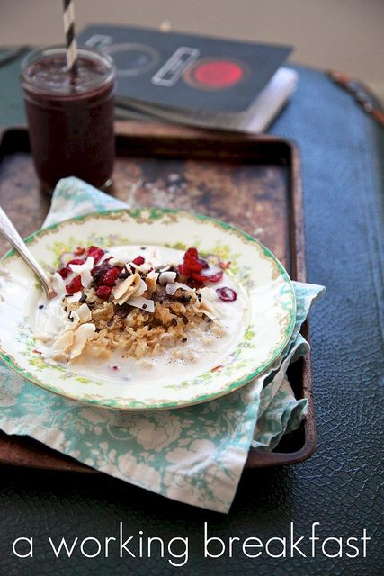 oatmeal again and like it: coconut flakes, dried cranberries, brown ...