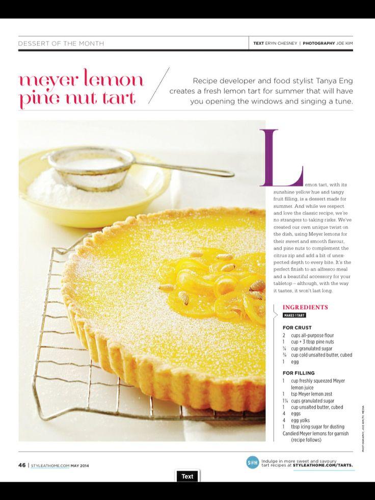 Meyer lemon pine nut tart | Yum! | Pinterest
