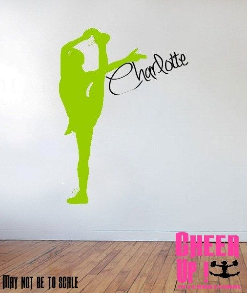 Personalised cheerleading wall art vinyl sticker decal for Cheerleader wall mural