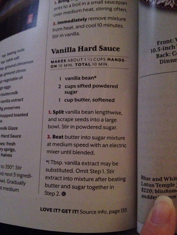Vanilla Hard Sauce | Food - Desserts | Pinterest
