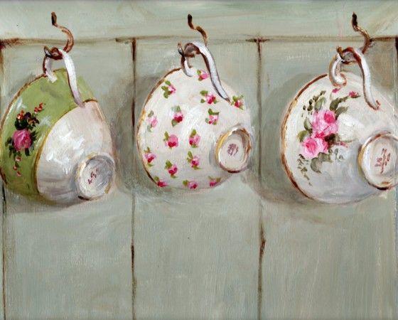Печать на бумаге - Три Висячие чашки чая - Бесплатная доставка WORLD WIDE