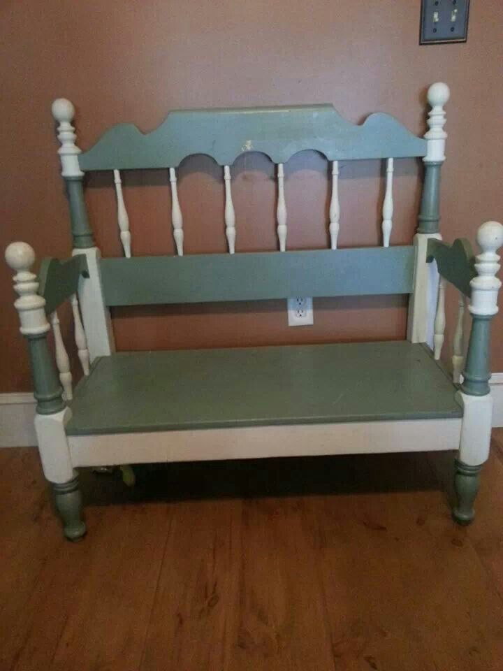 Cool bench made out of twin bed frame cool crafty ideas for Cool twin bed frames