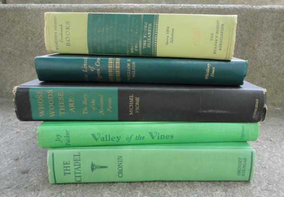 VINTAGE decorative book stack in variegated greens - instant collection - 400