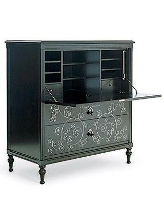 My secretary/desk... practical and stylish. Okay, I confess that its a Martha Stewart design.