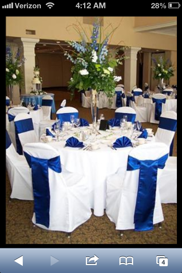Royal blue and black wedding decorations