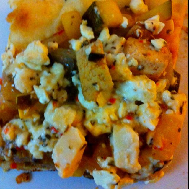 Crust = garlic naan Cheese = garlic & herb feta and tomato basil feta ...
