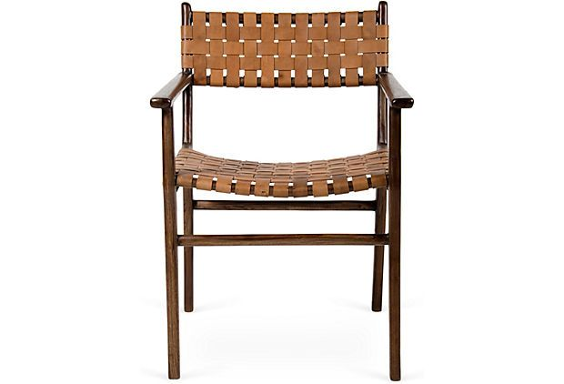 Woven Leather Chair Brown
