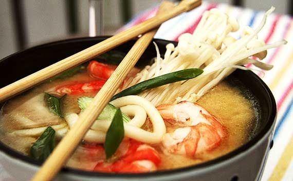 super simple recipe Japanese miso udon (noodle soup) with prawns