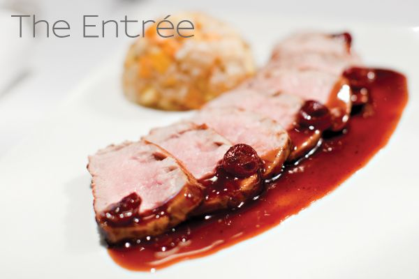 ... Pork Tenderloin With Winter Vegetable Hash & Dried Cranberry Reduction
