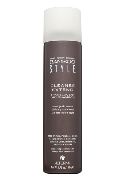 Alterna Bamboo Style Cleanse Extend Translucent Dry Shampoo, $26 Powders and sprays can speckle dark tresses with dandruff-looking patches of white flakes. Alterna?s translucent formula sprays on completely clear, no matter the hair color. The fresh green fragrance of bamboo leaf, water lily and musk adds a veil of scent that exudes cleanliness
