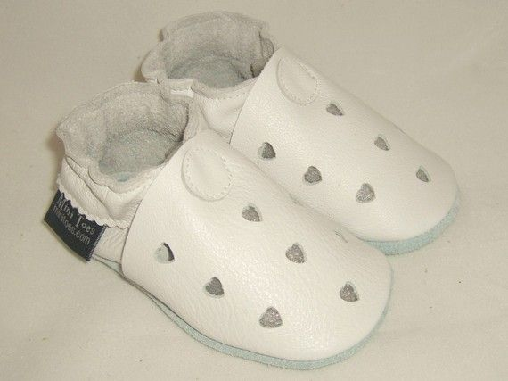MINI TOES soft sole leather BABY shoes white heart by minitoes, $20.00