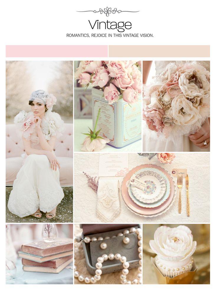 Vintage, pink and champagne wedding inspiration board, color palette, mood board