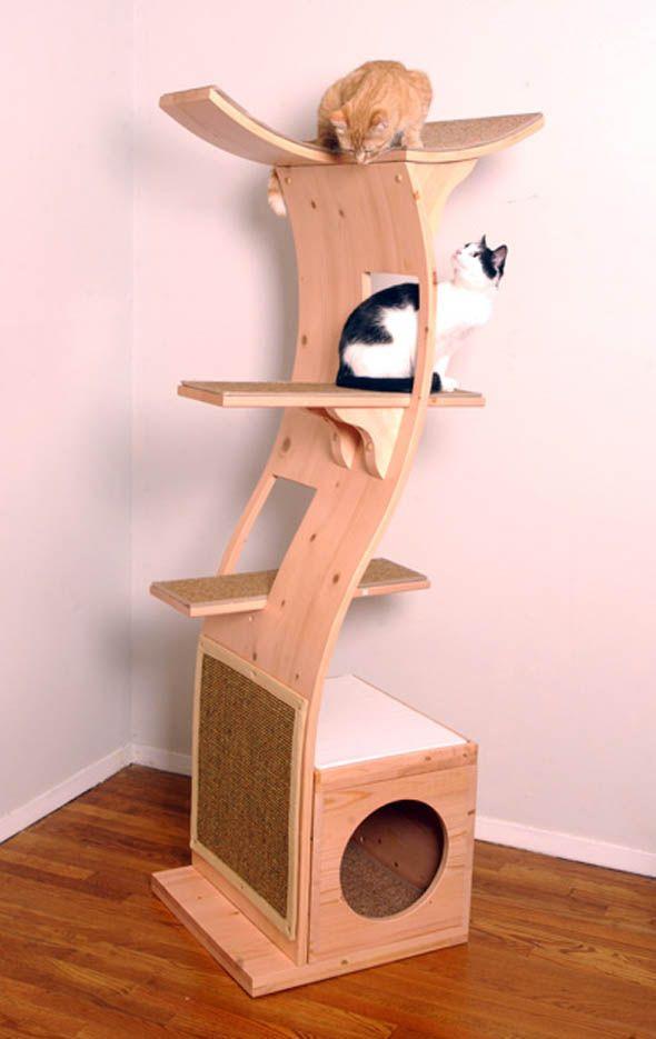 Modern cat tower cat decor pinterest for Wooden cat tree designs