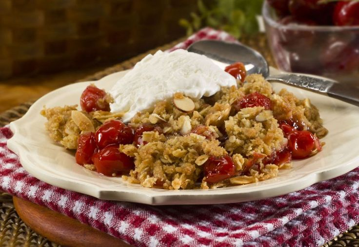 Slow Cooker Cherry Crisp - Warm and bubbly cherries baked with a ...